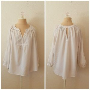 White Half Sleeve Cut Out Blouse Peasant Top